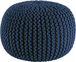 Cotton Craft – Hand Knitted Cable Style Dori Pouf – Blue – Floor..