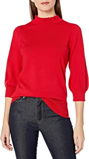 Lark & Ro Women's Three Quarter Balloon Sleeve Ruffle Mock Neck Sweater