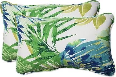 "Pillow Perfect Outdoor/Indoor Soleil Lumbar Pillows, 11.5"" x 18.5"", Blue/Green, 2 Count"