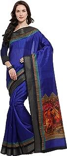 Rajnandini Women's Tussar Silk Madhubani Digital Printed Saree(JOPLNB10001C_Blue_Free Size)