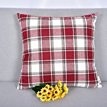 NATUS WEAVER Christmas Stripe Checker Decoration Linen Square Euro Throw Pillow Cover Sham Hand Made Cushion Case for Floor with Invisible Hidden, 18 inches (Set of 1, Burgundy)