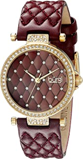 Burgi Women's Quartz Watch with Swarovski Crystal Accents and Dial With Quilted Satin Strap