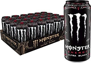 Monster Energy Ultra Black, Sugar Free Energy Drink, 16 Ounce