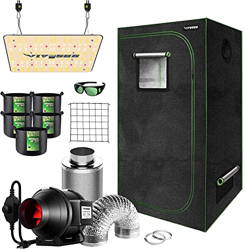"""wholesale VIVOSUN 36""""x20""""x63"""" Mylar Hydroponic Grow Tent Complete Kit with 4 lowest Inch 190 CFM Inline Duct Fan Package, VS1000 LED Grow Light, outlet sale Glasses, Grow Bags, Trellis Netting outlet sale"""