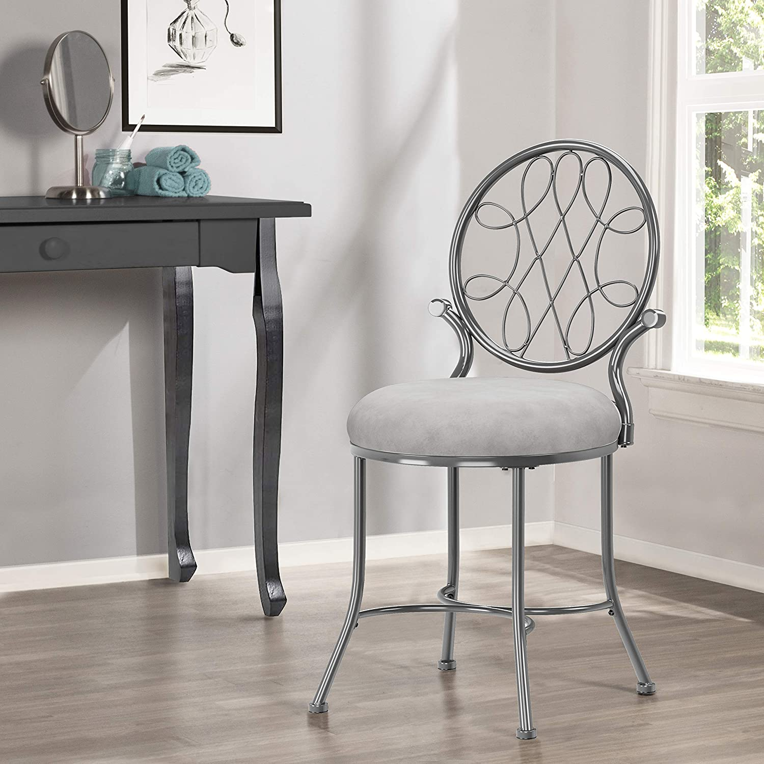 Hillsdale O'Malley Vanity Stool with Pattern Meta 2021 new Free shipping / New Design Spiral