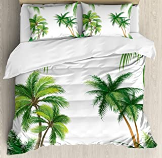 Ambesonne Tropical Duvet Cover Set, Coconut Palm Tree Nature Paradise Plants Foliage Leaves Digital Illustration, Decorative 3 Piece Bedding Set with 2 Pillow Shams, Queen Size, Hunter Green