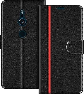 COODIO Funda Sony Xperia XZ2 con Tapa, Funda Movil Sony Xperia XZ2, Funda Libro Sony Xperia XZ2 Carcasa Magnético Funda para Sony Xperia XZ2, Negro/Rojo