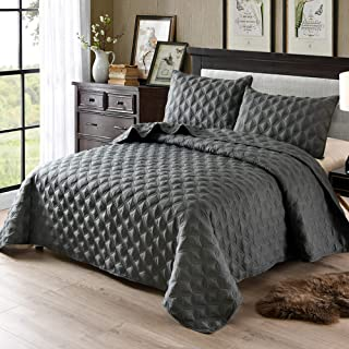 Exclusivo Mezcla 3-Piece Queen Size Quilt Set with Pillow Shams, as Bedspread/Coverlet/Bed Cover(Ellipse Steel Grey) - Soft, Lightweight, Reversible& Hypoallergenic