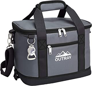 Outrav Black Insulated Cooler Bag – 6L Collapsible Thermal Lunch Bag with Bottle Opener, 16 Can Capacity – Perfect for Cam...