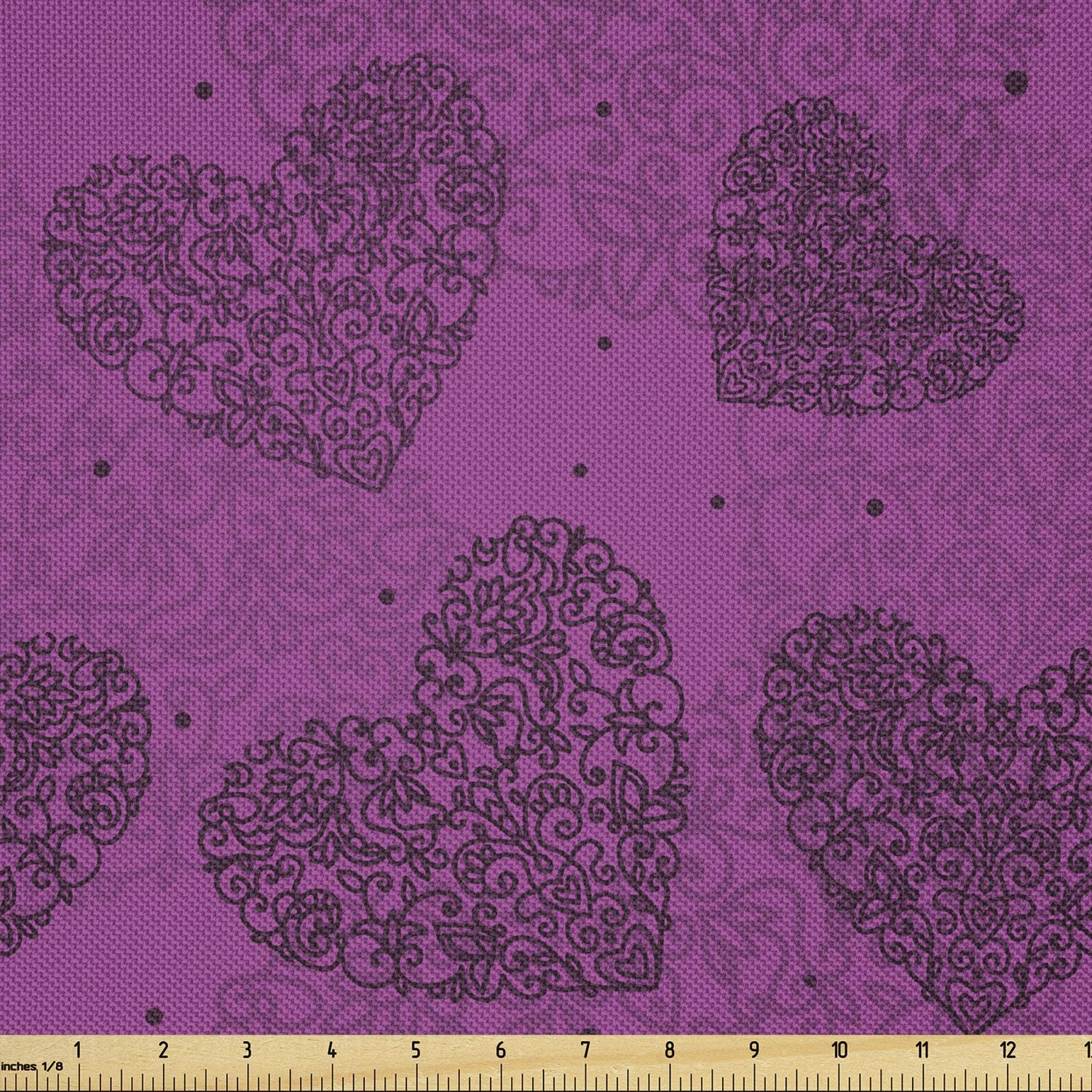 Ambesonne Abstract Fabric by The New Sale item product type Curly Yard Hearts Shapes Flora