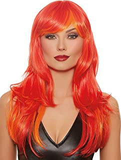 Dreamgirl Women's Long Straight Layered Red/Orange Flame Wig, One Size
