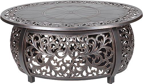 Fire Sense Toulon Cast Aluminum Oval Gas Fire Pit | Antique Bronze | 50,000 BTU Output | 20 Pound LPG