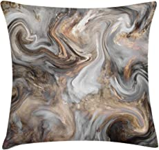 Ambesonne Marble Throw Pillow Cushion Cover, Retro Style Paintbrush Colors in Marbling Texture Watercolor Artwork, Decorative Square Accent Pillow Case, 24 X 24, Sand Brown