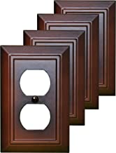 Pack of 4 Wall Plate Outlet Switch Covers by SleekLighting | Decorative Dark Brown Mahogany Look | Variety of Styles: Decorator/Duplex/Toggle / & Combo | Size: 1 Gang Duplex