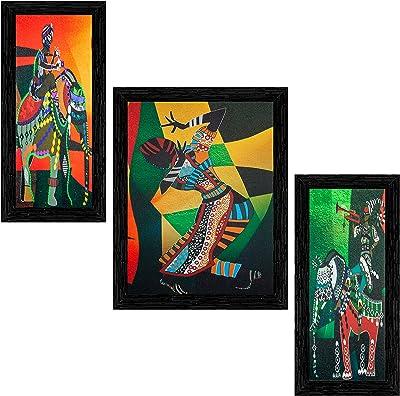 Indianara Set of 3 Indian Folk Framed Art Painting (3556BK) without glass 6 X 13, 10.2 X 13, 6 X 13 INCH