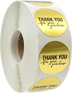"""1.25"""" Round Gold Foil Thank You for Your Purchase Stickers / 1000 Labels per Roll"""
