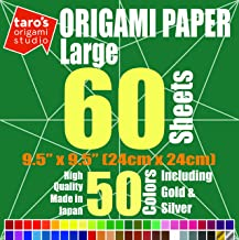 [Large 9.5 inch Made in Japan] Taro's Origami Studio Premium Japanese Origami Paper (9.5 inch, 60 Sheets, Single Side 50 Colors Including Gold and Silver)