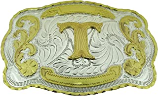 Initial Letter T Belt Buckle Western Cowboy Rodeo Gold Silver Metal Texas Style