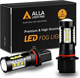 Alla Lighting Extremely Super Bright 12278 PSX26W LED Fog Light Bulbs High Power 80W Cree 12V H28W DRL Replacement, 6000K Xenon White