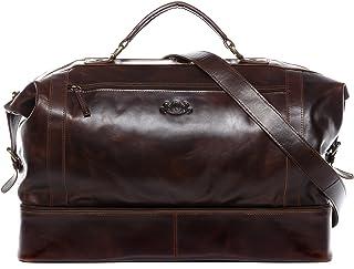 SID & VAIN Reisetasche mit separatem Schuh-Fach Hemden echt Leder Kingston XL groß Sporttasche Weekender Ledertasche Herren braun