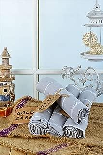 Gold Case Small Peshtemal Set of 4 Turkish Bath Spa Yoga Tea Towel for Hand Face Kitchen 20x40 100% Cotton Grey
