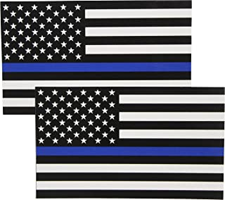 Fine Line Flag Auto Decals Thin Blue Line Flag Sticker 3x5 in. Black White and Blue (2-Pack)