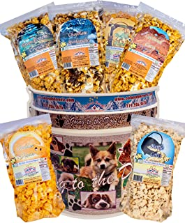 Popcorn by Colorado Kernels Popcorn Delights | 3.5 Gal GOING TO THE DOGS Bucket with 6 lg resealable bags | Kettle Corn, Cheddar Cheese, Caramel, Chocolate, Almond/Pecans, Buffalo Ranch