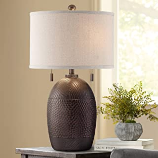 Byron Rustic Table Lamp Hammered Textured Bronze White Drum Shade for Living Room Family Bedroom Bedside Nightstand - Franklin Iron Works
