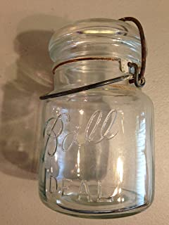 Vintage Old Ball Ideal Jar with Wire Bail No Lid One Pint Early 1900's