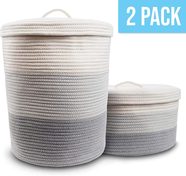 Cotton Rope Basket Set Of 2 With Handles Large Blanket Basket And Small Woven Basket For Toy Storage Laundry Basket Dog Toy Basket Shoe Storage Baskets Short And Tall Round Basket For Blankets
