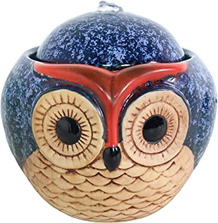 Sunnydaze 6-Inch Ceramic Owl Indoor Tabletop Water Fountain - Interior Water Feature for Home and Office - Small Decorative Fountain for Desktop and Table