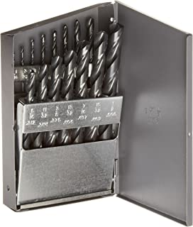 Chicago Latrobe 150ASP Series High-Speed Steel Jobber Length Drill Bit Set with Metal Case, Heavy Duty, Black Oxide Finish, 135 Degree Split Point, Inch, 15-piece, 1/16