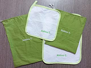 Crociedelizie, Set asilo scuola materna 4 pezzi tovagliolo sacca grande sacchetto piccolo asciugamano salvietta ricamo nom...
