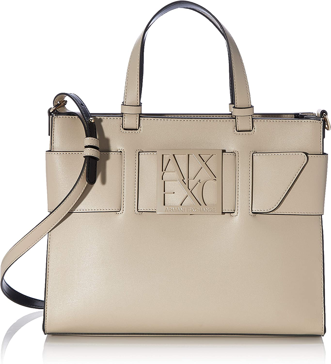 A X Armani Free shipping anywhere in the nation Exchange Buckle Tote Structured Large Japan Maker New Cachemir Front