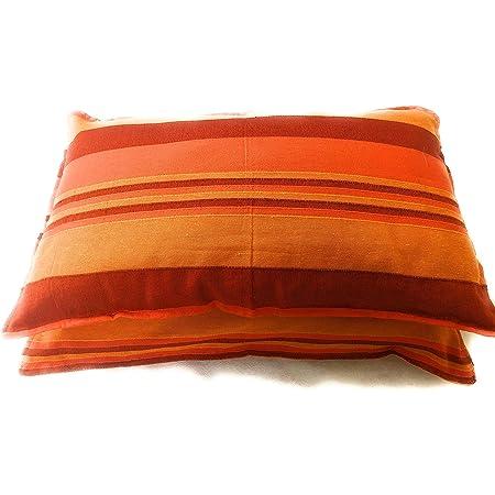 Rangbhar Handloom Pillow Covers with Zip Closure, Set of 2 Khadi Cotton Pillow Covers, Striped, 18 x 27 inch, (Orange)