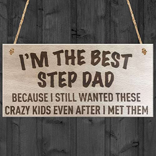 RED OCEAN Best Step Dad Crazy Kids Novelty Wooden Hanging Plaque Fathers Day Love Gift