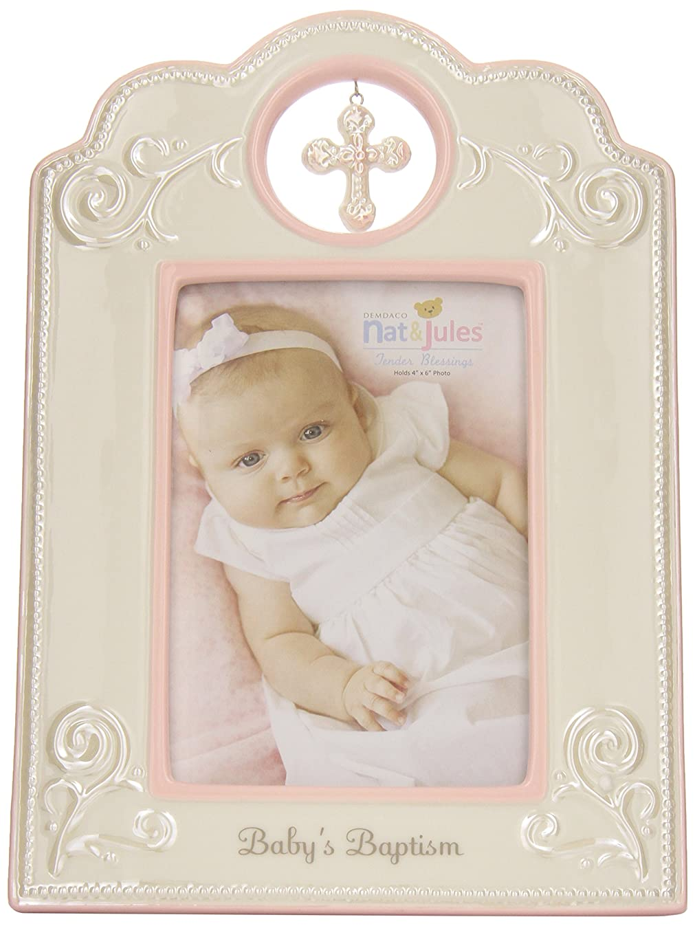 DEMDACO Baby's Baptism 6.75 x 9.75 Inch Porcelain Picture Frame, Pink