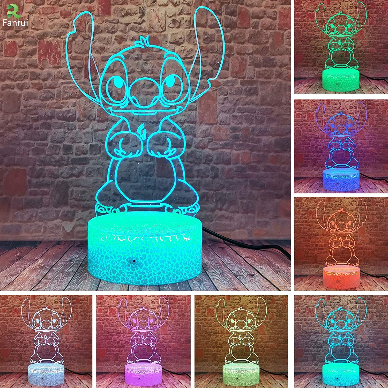 Cartoon - Lilo and Stitch - 3D Led Stitch Lamp - 7 Colors Smart Touch Remote Control Night Light - Home Bedroom Table Family Hot Decor - Child Kids Baby Xmas Birthday Toys