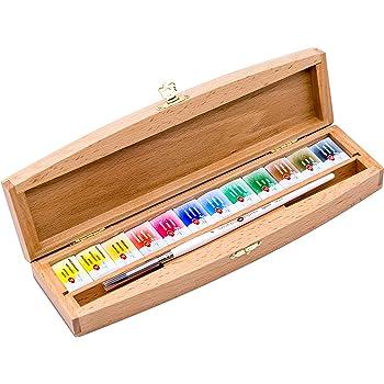 Juego de pintura de acuarela de calidad profesional en caja de madera, 12 sartenes de 2,5 ml, caja de haya, cepillo de ardilla, Nevskaya Palitra: Amazon.es: Juguetes y juegos