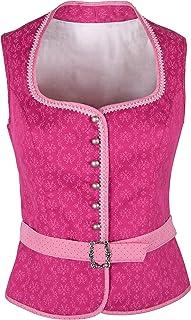 Ramona Lippert Damen Dirndl Bluse Nicole Pink Corsage mit Schneewittchenkragen und Gürtelschnalle - Trachtenbluse - Blusen für Trachten z.B. zum Oktoberfest
