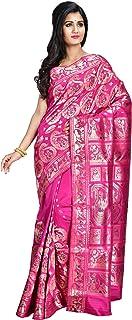 Sarees of Bengal Women's Handloom Authentic Magenta Allover Meenakari Baluchari/Swarnachari Silk Saree