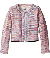 Karl Lagerfeld Kids - Tweed Jacket w/ Fringe and Black Trim (Little Kids)