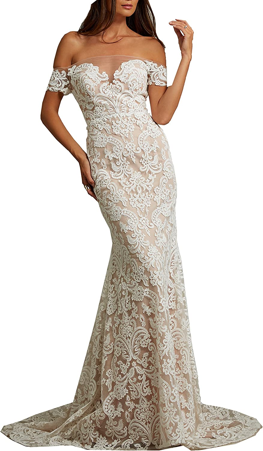 Heartgown 2018 Women's Off The Shoulder Lace Bohemian Wedding Dress for Bride Mermaid Style Chapel Train with Sleeves