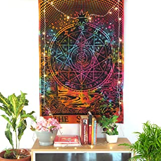 Oussum Wall Decor Tapestry Tie Dye Printed Decorative Posters Bedroom Decor Small Bedsheet Cotton Hippie Boho Tapestry for...