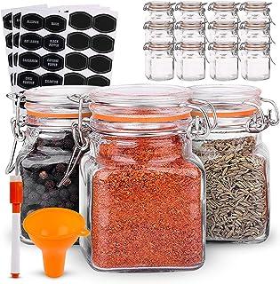 Lot de 12 pots à épices hermétiques avec 40 étiquettes et stylo tableau noir – Lot complet de bouteilles d'épices carrées ...