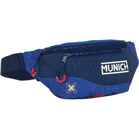 Safta Riñonera con Bolsillo Exterior de Munich Retro, 230x90x120mm, Azul Oscuro/Azul