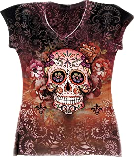 Sugar Skull Shirts for Women | V Neck T Shirt Tee | Beautiful Print Decorated with Rhinestones