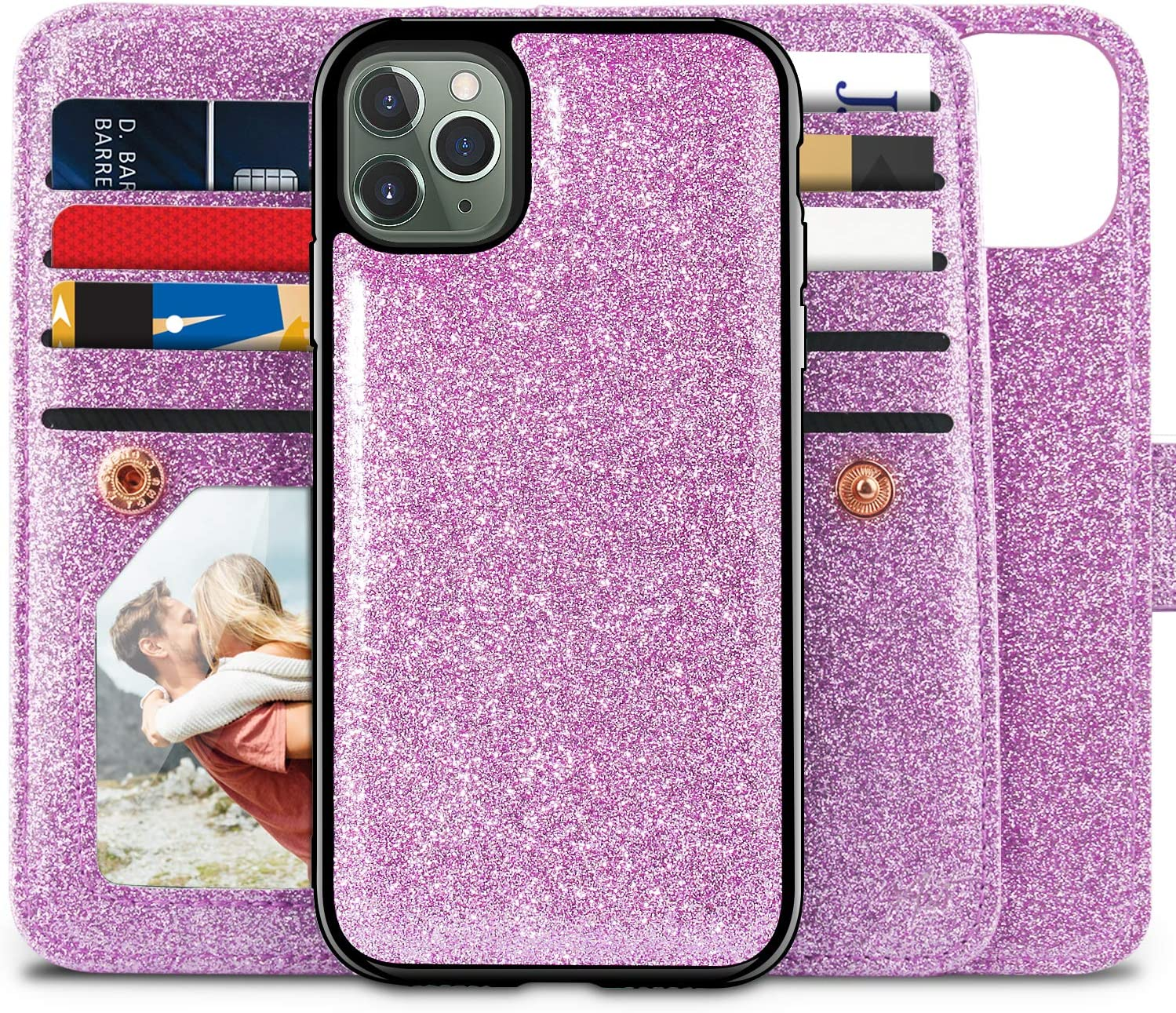Miss Arts Compatible with iPhone 11 Pro Max Wallet Case,Detachable Magnetic Slim Case, 9 Card/Cash Slots, Wrist Strap, PU Leather Cover for Apple iPhone 11 Pro Max -Purple