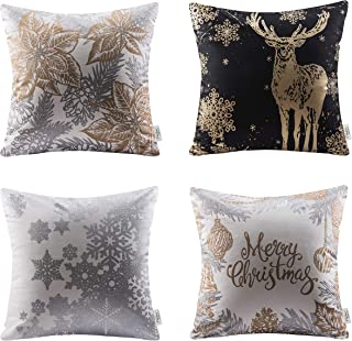 Ashler Merry Christmas Throw Pillow Covers Fall Winter Decorative Pillowcases Cotton Golden Leaf Reindeer & Snow Series 18 x 18 inches, Pack of 4