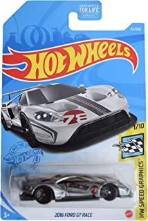 DieCast Hotwheels 2016 Ford GT Race, Speed Graphics 1/10 [Silver]